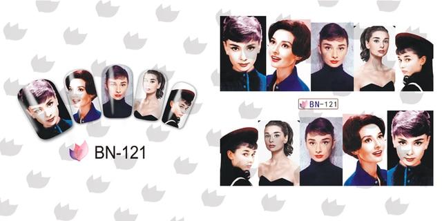 En venta!! 1 lote = 50sheets. 12 en una hoja Nueva Style Nail Art Sticker Agua Audrey Hepburn en 2016 para BN121-132