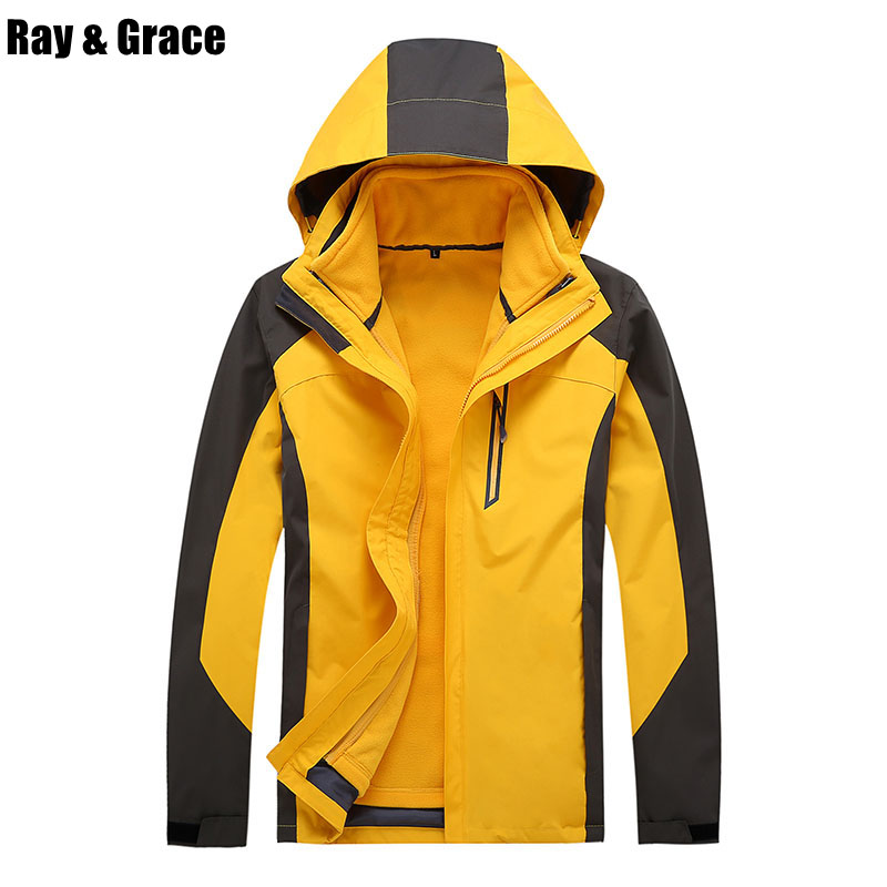 RAY GRACE Men Hiking Jackets Windbreaker Camping Jacket Waterproof Women Windproof Coat Warm Fleece Fishing Sport Jackets