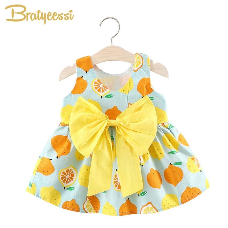 Letnie sukienki dla dziewczynki z cytryny Duże ubranie bez rękawów - Odzież dla niemowląt - Zdjęcie 1