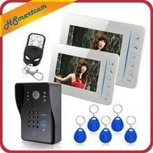 7″ Video Door Phone Doorbell Intercom System Compatible RFID Keyfobs CCTV Camera