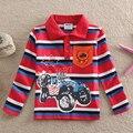 NEAT Al Por Mayor nuevo 2016 del bebé lindo de los niños boy camiseta coche de impresión raya Larga de algodón niños ropa Camiseta Del Muchacho Del desgaste L862 #