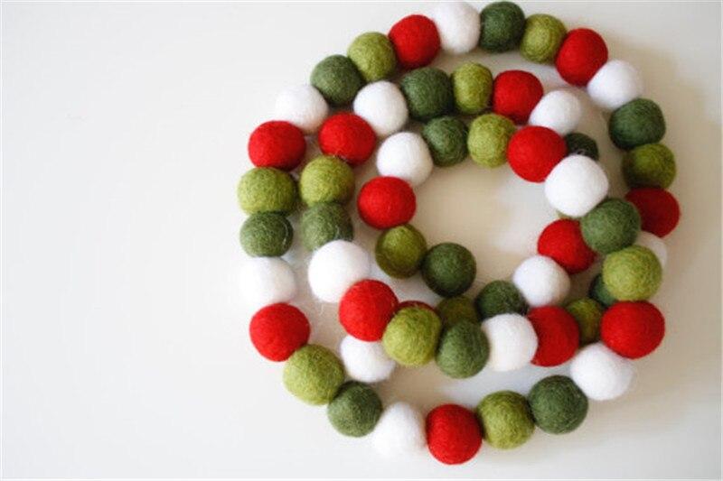 Christmas Ball Garlands.30pc Nordic Handmade Felt Wool Balls Garlands For Kids Room