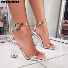TINGHON Summer Transparent Ladies Sandals Crystal Square Buckle Strap With Party Sexy Open Toe High Heel Shallow 35-42