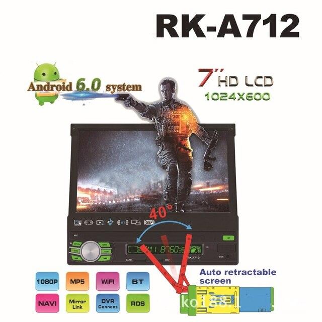 "RK-A7127""Universal 1din Android 6.0 Quad Core Car DVD player GPS Navigation Wifi BT autoRadio 1GB RAM 16GB SWC RDS OBD2 DAB CD"