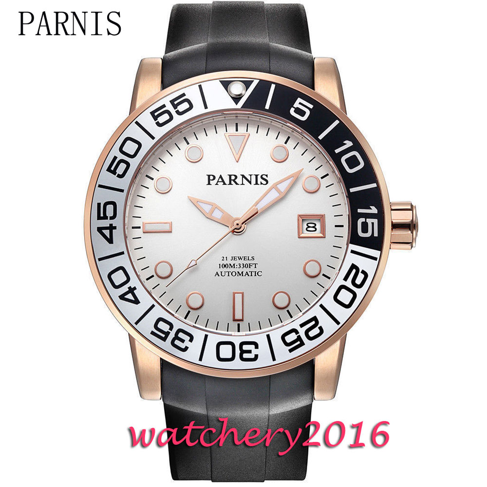 New Parnis 42mm white dial luminous marks gold case date window sapphire glass miyota Automatic movement Men's Watch new forcummins insite date unlock proramm