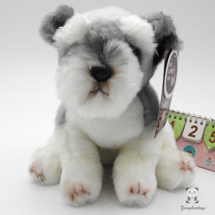 Simulation  Plush Toys  Large  Schnauzer  Cute Dog  Doll Ornaments  Children'S Toy Birthday Gift candice guo plush toy stuffed doll cute little simulation dressing cowboy schnauzer dog puppy children birthday gift christmas