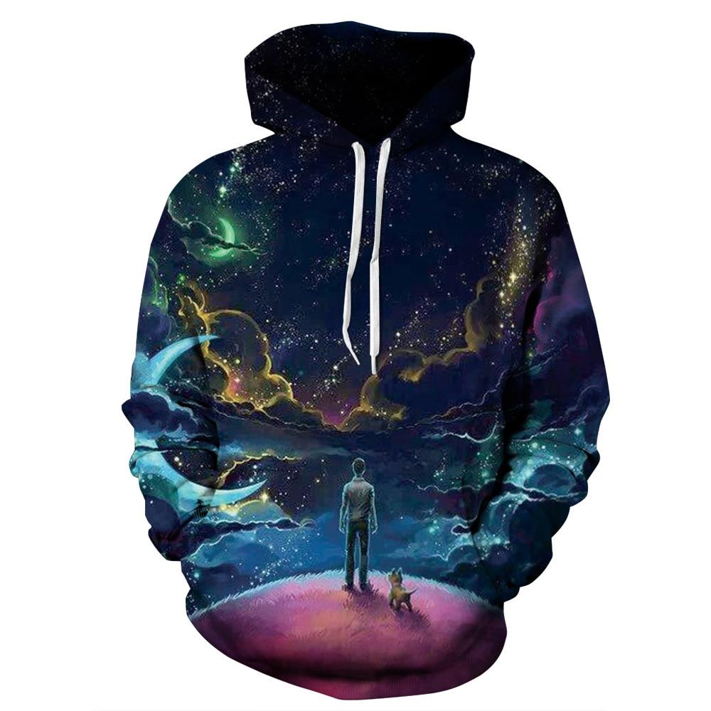 2018 Women/Men 3D Printing Hoodies Galaxy Star Loose Hoodies Unisex Winter Long Sleeve Sweatshirt with Hat Pullover Universe New
