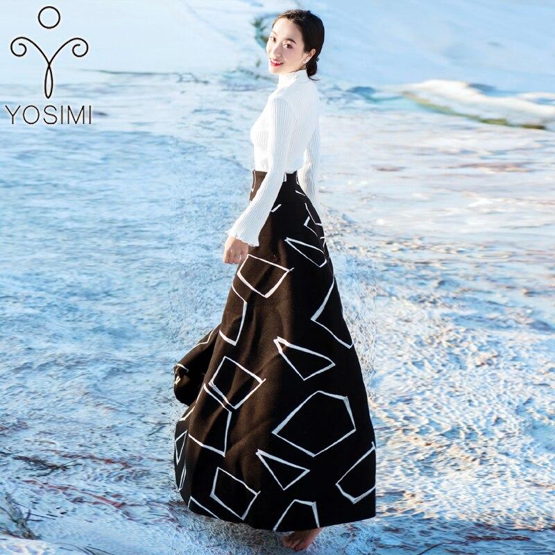YOSIMI 2018 зимнее женское платье для женщин комплект из двух предметов пуловер с длинными рукавами Блузка + шерстяная юбка костюм комплект из 2 п... - 2