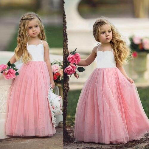 Новое летнее платье принцессы для маленьких девочек, кружевное бальное платье-пачка с лямкой на шее для дня рождения, свадьбы, Пляжное Плать...