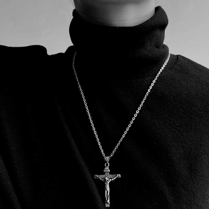 Łańcuch w stylu hip-hop mężczyźni kobiety para naszyjniki naszyjnik wodoodporne mężczyźni Link Curb naszyjnik łańcuszkowy naszyjnik ze stali nierdzewnej łańcuch krzyż