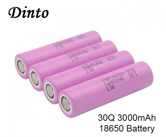 Dinto 2pcs for <font><b>Samsung</b></font> INR18650-<font><b>30Q</b></font> 3000mAh High Drain 18650 Li-ion Lithium Rechargeable Battery 3.7V Batteries 20A Discharge image
