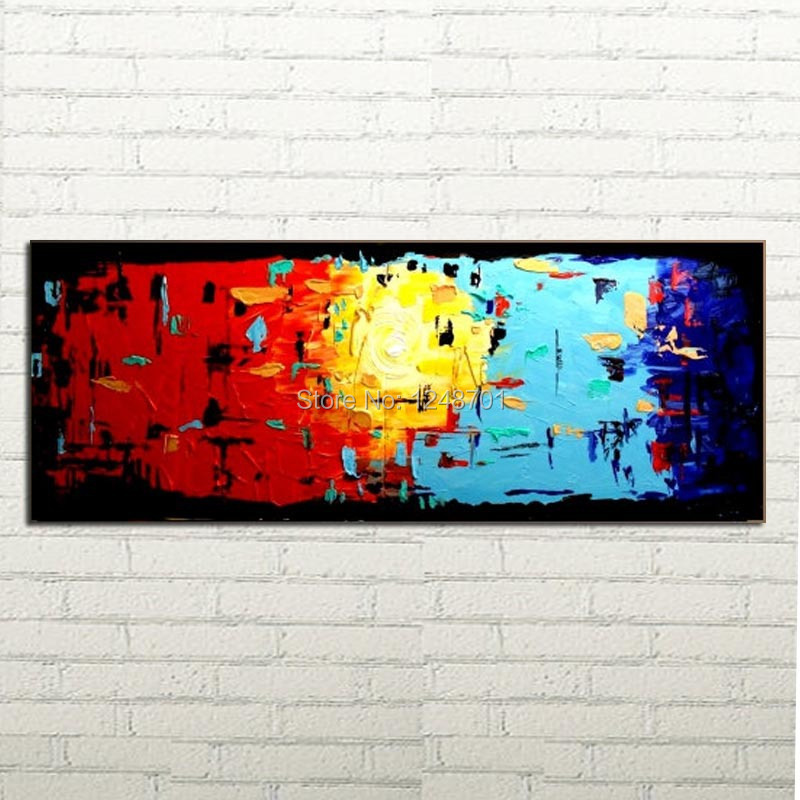 Modern colorful abstract palette font b knife b font Oil painting on canvas for wall decor