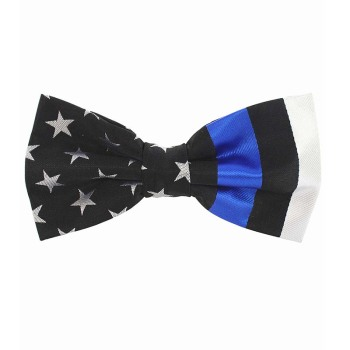 JEMYGINS USA Thin Blue Line Red Gray Blue American Police Mens Tie Flag Design Handmade Bowtie Party High End Tie Bow Tie