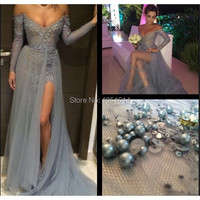 Fashion Arabic Star Sparkle Long Sleeve Sheath Deep V Neck Beaded Splite Side Celebrity Dress 2015