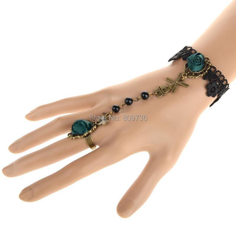 Hot Selling Charm Retro Vintage Lady Handmade Cross Bow Beads Gothic Lace Flower Finger Chain Bracelet Women Jewelry
