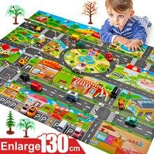 130*100 ซม.เด็กรถการจราจร Play ที่จอดรถฉากแผนที่ขนาดใหญ่เด็กเล่นถนนเด็กของเล่นเด็กผู้หญิงเด็กของเล่นเกมแผนที่