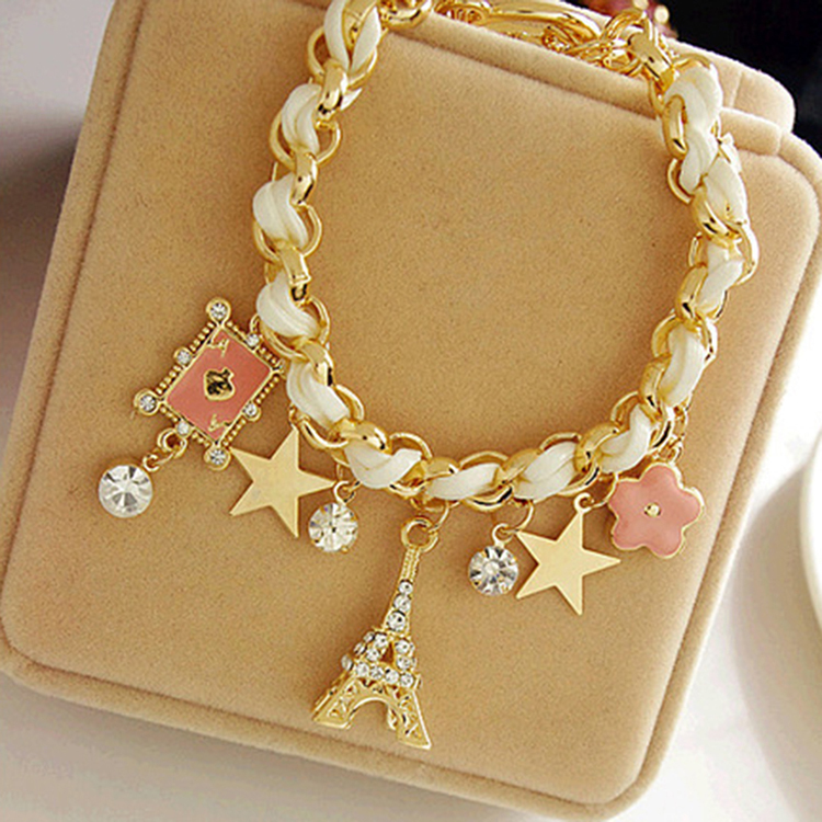 2 PCS Fashion Fashion Star Flower Leather Rope Paris Eiffel Tower Poker Crown Bracelet Anklet