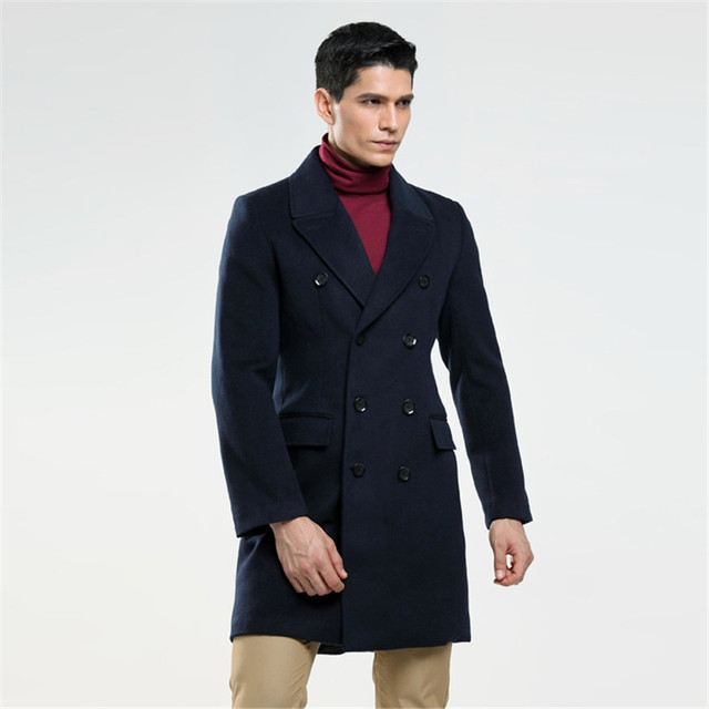 AIMENWANT Custom made men's British fashion S-6XL wool coat Russian man double breasted lake blue trench free shipping Cloth 3