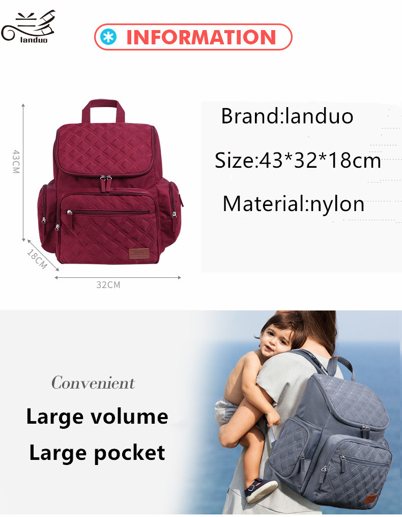 HTB1LZfyp5CYBuNkSnaVq6AMsVXa2 Authentic LAND Mommy Diaper Bags Mother Large Capacity Travel Nappy Backpacks with anti-loss zipper Baby Nursing Bags dropship