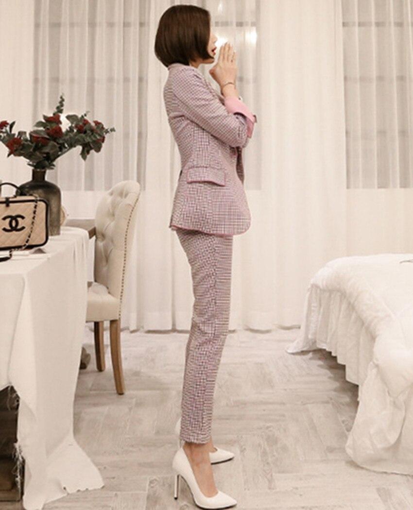 Blazer Pantalons Femmes Plaid Manteau Pour Haute Automne Mode Costumes Poitrine Pièce Unique Crayon Ensemble 2 Rose Qualité Bureau Seiwnibu S74Cxqx