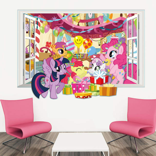 online shop 3d my little horse window wall decals for kids rooms