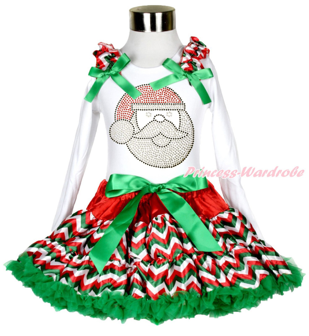 XMAS Rhinestone Santa Claus Print White Long Sleeve Top Chevron Pettiskirt Baby Girl Outfit 1-8Y MAMG205 my 1st christmas santa claus white top minnie dot petal skirt girls outfit nb 8y