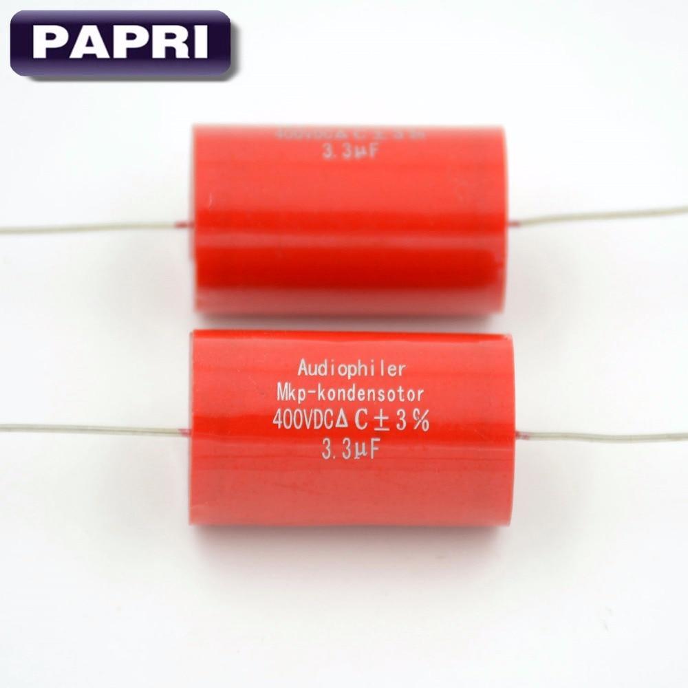 PAPRI Axial MKP 3.3UF 400VDC Kondensator Polypropylen NICHT-Polarisiert Für Hifi Audio Rohr Gitarre AMPS Lautsprecherkopplung Lot / 10 STÜCKE
