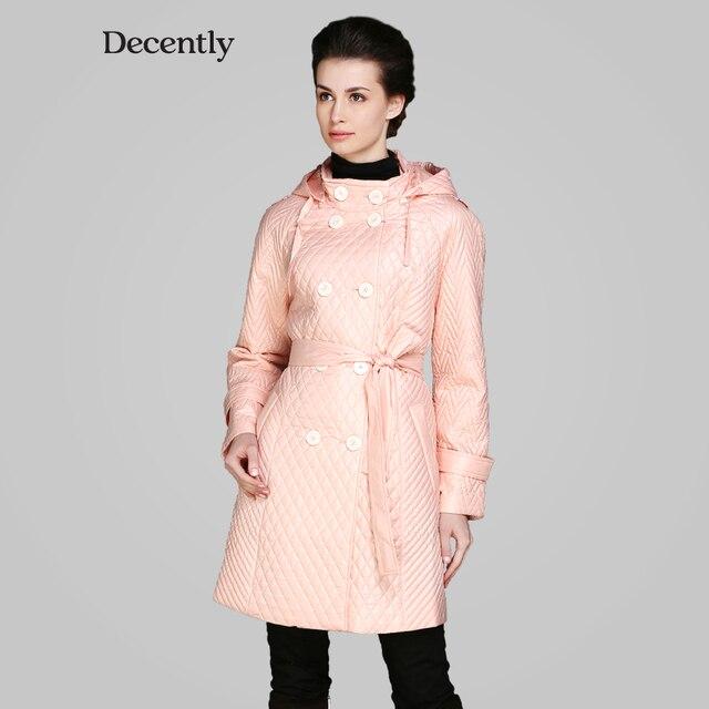 DECENTLY 2015 весна новынка женский синтепон модныйпо фигуре двухрядный пуговиц пальто высокое качество бесплатная доставка 1A7446-1