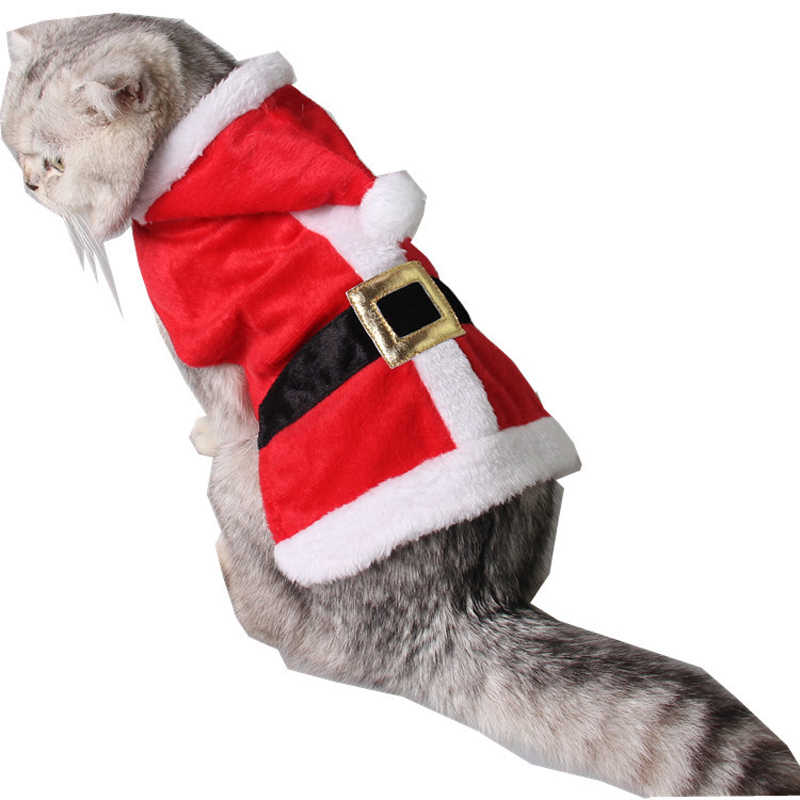 Adjustable New Year Christmas Red Santa Claus Cat Dog Costume Cosplay Perform Cloth Cloak Pet Birthday Party Gift Supplies