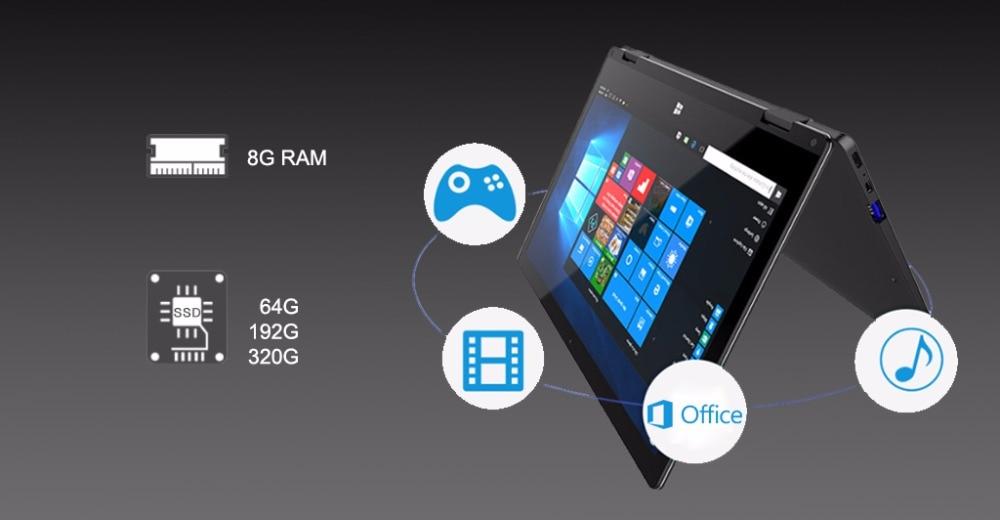 11.6 inch 2 in 1 convertible touch screen Netbook 8GB RAM 1920X1080 IPS Screen 192GB dual band wifi iTSOHOO 360 degree laptop 13