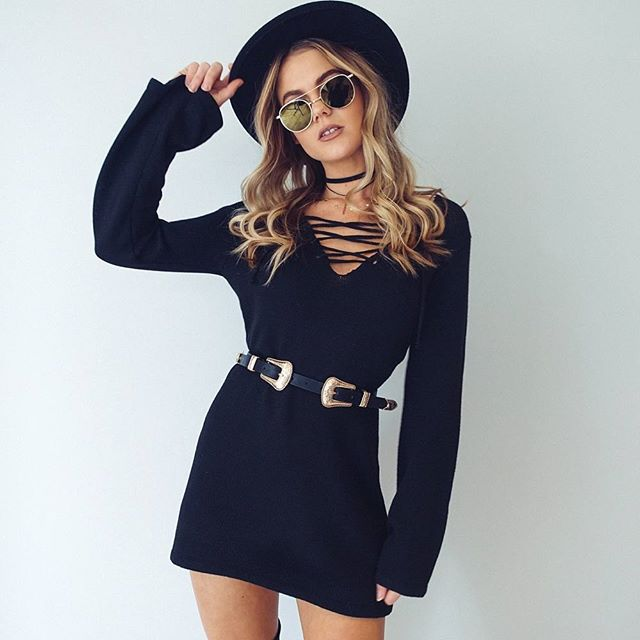 2018 women s spring mini dress knitted cotton loose cute dress solid color black dresses ladies