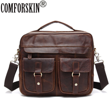 COMFORSKIN Brand New Arrivals Casual Men Leather Handbags Mochila Masculina Luxurious 100% Cowhide Male Shoulder Bags