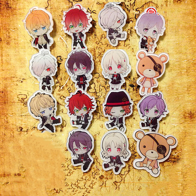 15 pcs/ensemble DIABOLIK LOVERS Komori Yui Sakamaki Ayato Kanato Laito Shu reiji Acrylique Histoire de Vampire Anime Ventilateurs Insigne Broche Badge