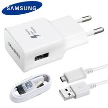 Asli Samsung Galaxy S6 S7 Edge Note 4 5 Cepat Travel Charger 1.5 M Kabel Usb Mikro A510 A710 Adaptif pengisian Cepat(China)