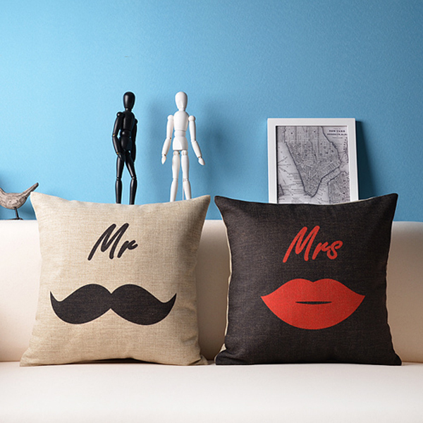 Mr Mrs Pillow Cover Set Lips Love Couples Heart Sofa Throw Delectable Mr And Mrs Pillow Covers