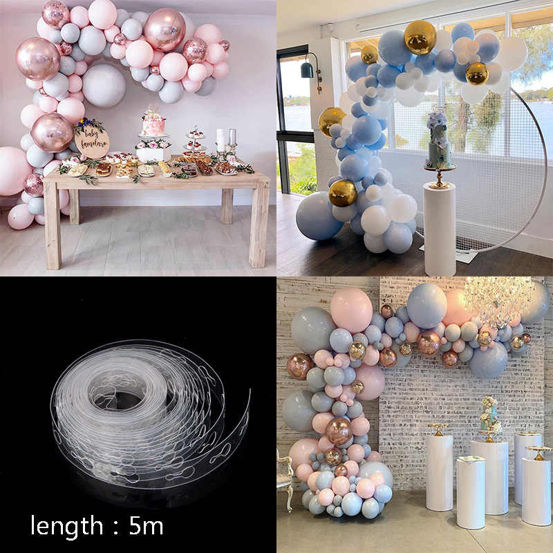 5M/Lot 410 Holes Balloon Chain Balloon knotter Glue Ribbon Wedding Birthday Party Balloons Backdrop wall Decorations supplies