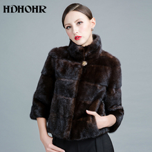 HDHOHP 2017 New Fashion Real Mink Fur Coats Of Women Short Slim Genuine Leather Good Quality