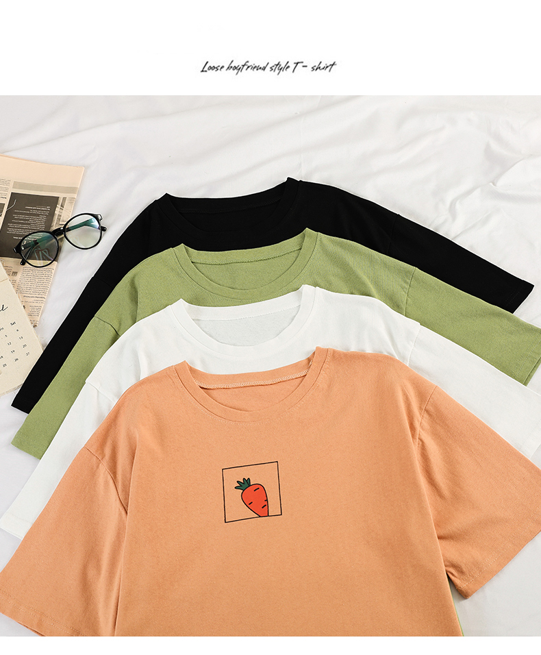 HTB1LZhFev1H3KVjSZFBq6zSMXXaR - 90s girl Fashion T Shirt Women Kawaii carrot Print Short Sleeved O-neck T-shirts Vintage Ullzang Tshirt Harajuku Top Tees Female