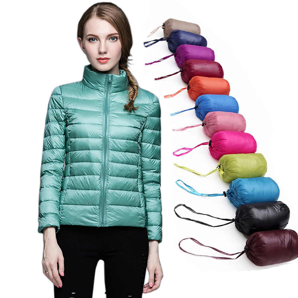 bbf5a57f389 2019 зимняя куртка женская одежда Большие размеры ультра-легкие тонкие  длинные рукава парки верхняя одежда