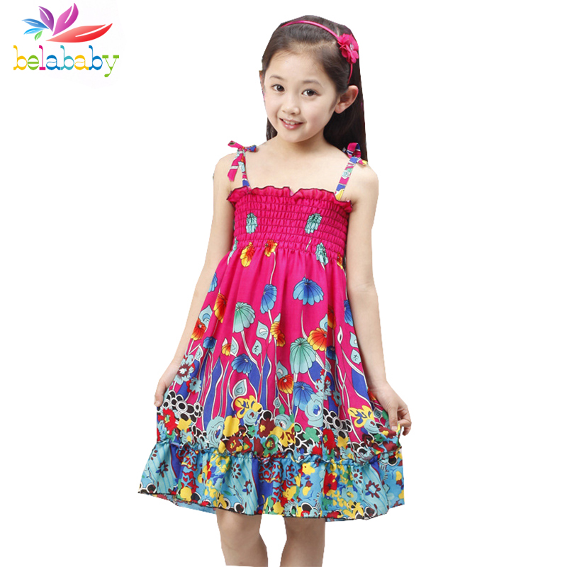 Belababy Summer Bohemian Beach Girls Dress With Beading Necklace Sundress Floral Sling Dress For Girl Vestido