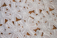 5 yards Off White Lace Fabric, Embroidery African Daisy Flowers Hollow Out Floral Lace Fabric MF035