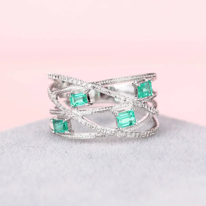 HUITAN Stacking-Ring Rings Square-Cut Clear CZ Silver-Plated Best For Women Gift