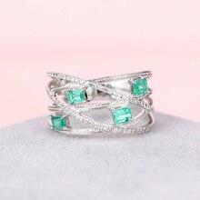 HUITAN Новое складывающееся кольцо с квадратной огранкой, прозрачное CZ Кольцо с посеребренным покрытием, Лучший Подарок на годовщину, кольца для женщин