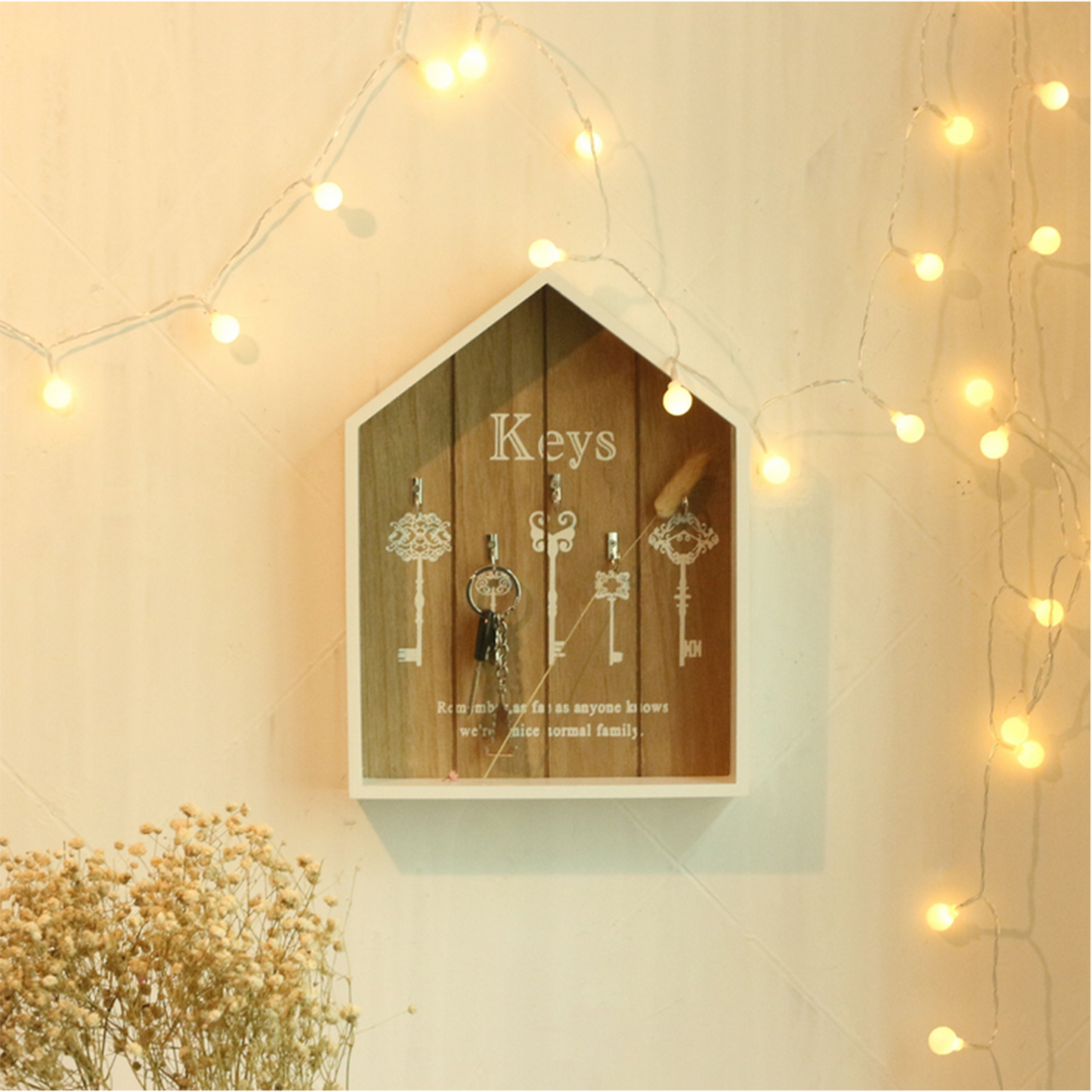 HIPSTEEN Country Style Wooden Box Key Holder Keys Pendant Storage ...