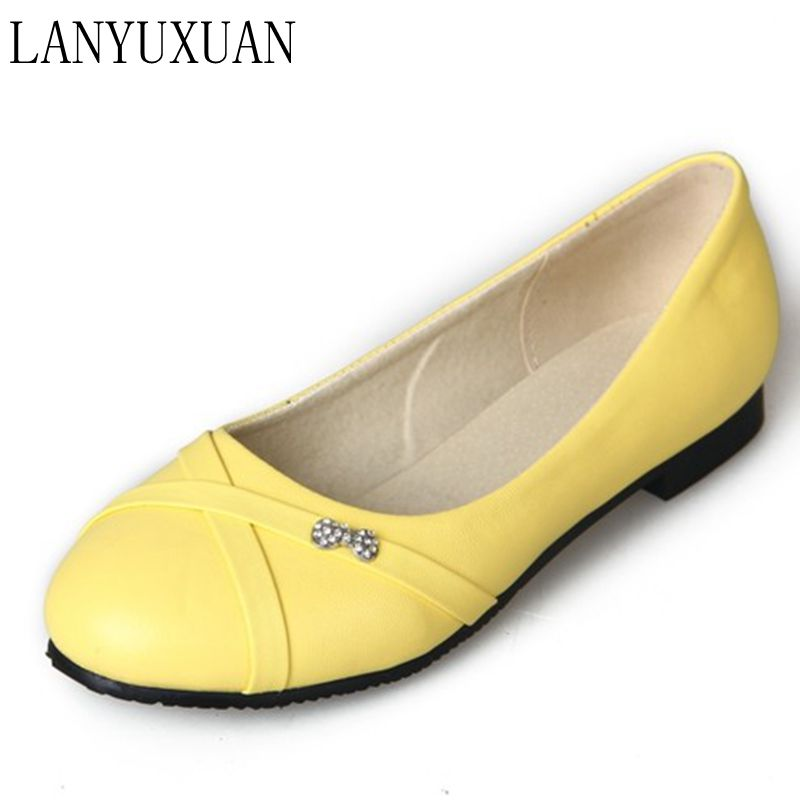 Oxford Shoes For Women Large Size 34-47 Women's Fashion Shoes Woman Flats Spring Female Ballet Metal Round Toe Solid Casual 062(China)