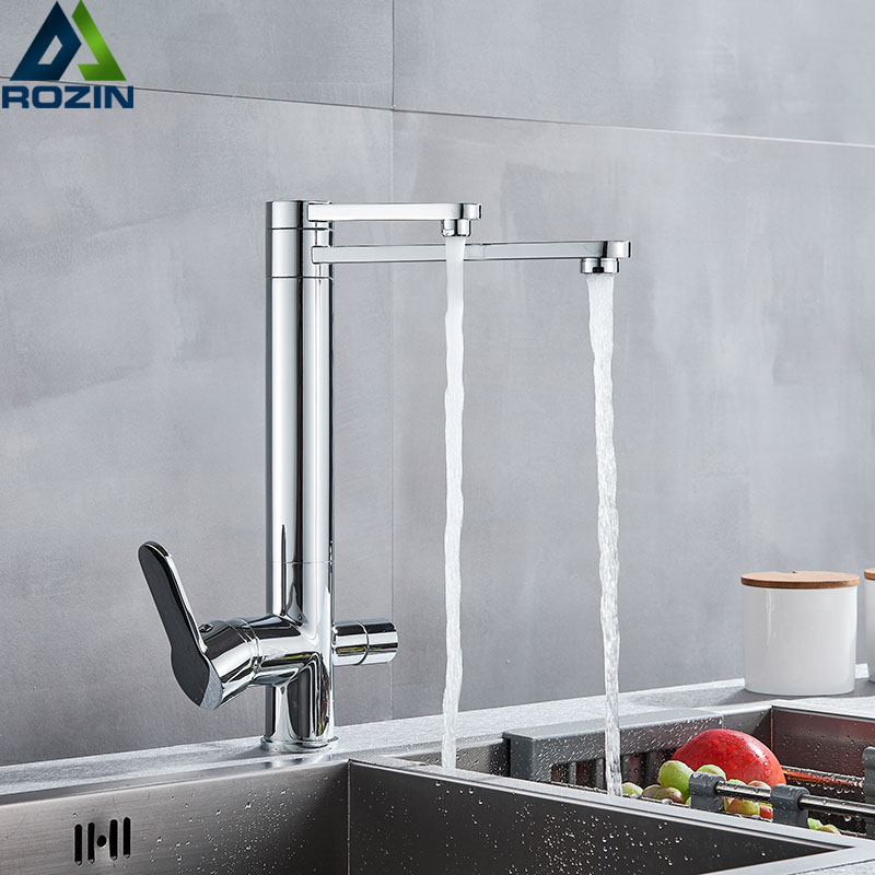 Chrome Purify Kitchen Faucet Dual Swivel Spout Three Way Kitchen Sink Mixer Tap Dual Water Outlet Drinking Water Cozinha De Pare