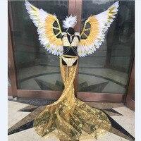 Детские сценические шоу крылья перо бикини Подиум Розовый Красный Золотой Красочные зеленые крылья ангела костюмы для девочек