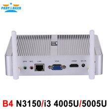Partaker B4 Intel Quad Core N3150 Dual Core i3 4005U Processor HTPC Mini Pc with HDMI VGA 4K HD 14nm