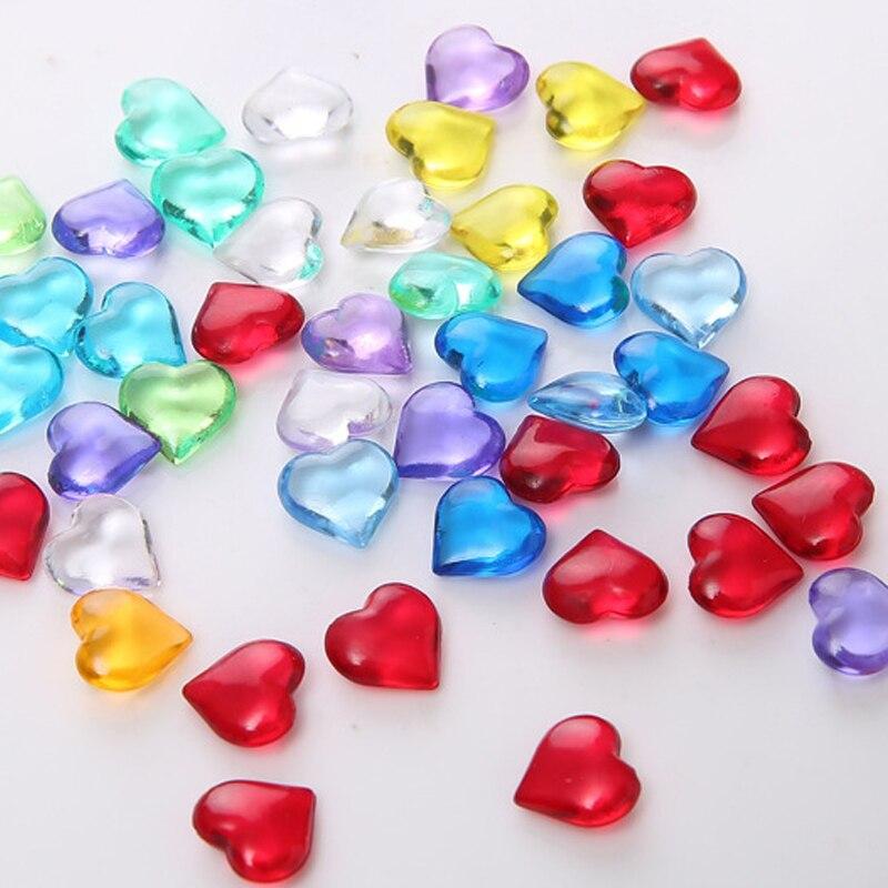 100 pçs 10mm forma do coração acrílico cristal diamante peão irregular pedra chessman peças de jogo para token placa jogo acessórios