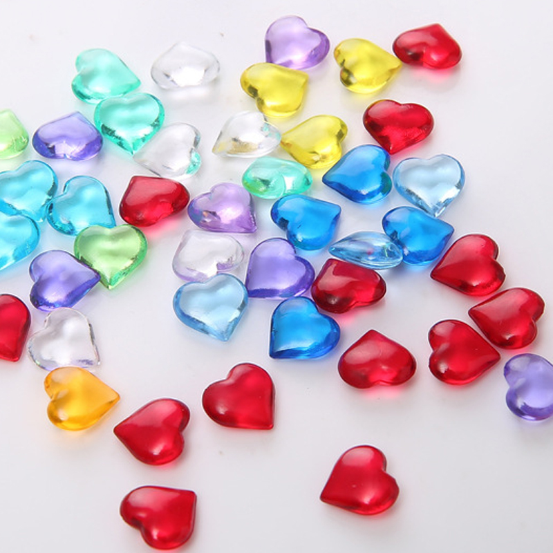 50PCS 10mm Heart Shape Acrylic Crystal Diamond Pawn Irregular Stone Chessman Game Pieces For Token Board Game Accessories